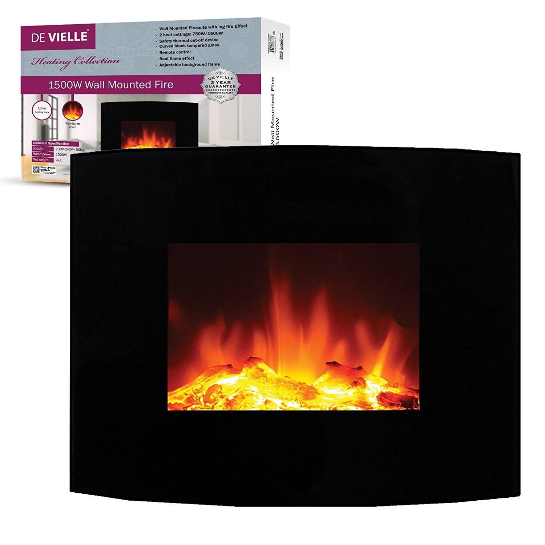 De Vielle Wall Mounted Log Effect Electric Fire Screen