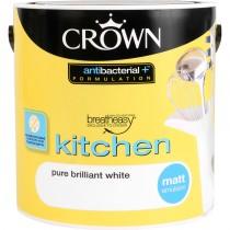 Crown Breatheasy Kitchen Matt Emulsion Paint - Pure Brilliant White 2.5 Litre