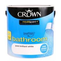 Crown Breatheasy Bathroom Mid Sheen Emulsion Paint - Pure Brilliant White 2.5Litre