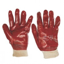 KeepSAFE PVC Red Knitwrist Gloves