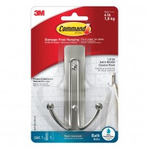 Command Damage Free Large Satin Nickel Double Hook