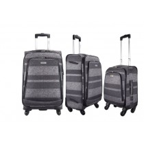 "Highbury Unique Grey Stripe Ultra Light Weight Luggage (18"")"